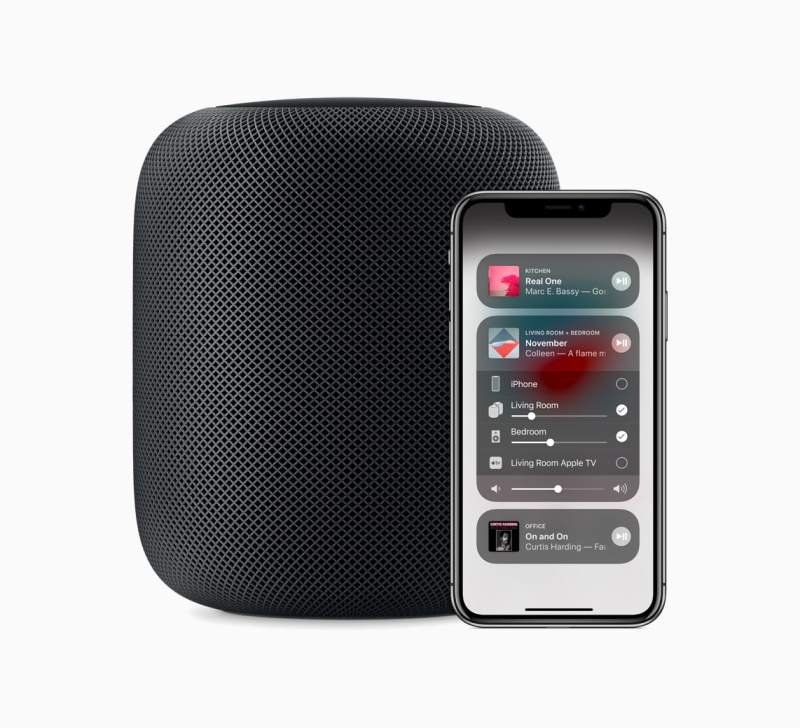 Apple HomePod and iPhone X Control Center