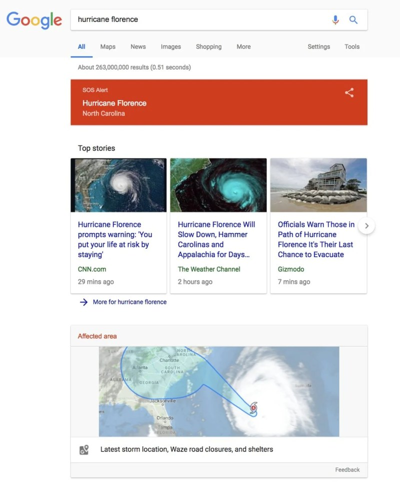 Google Search Hurricane Florence SOS Alert
