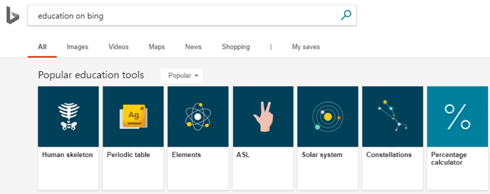 bing education carousel