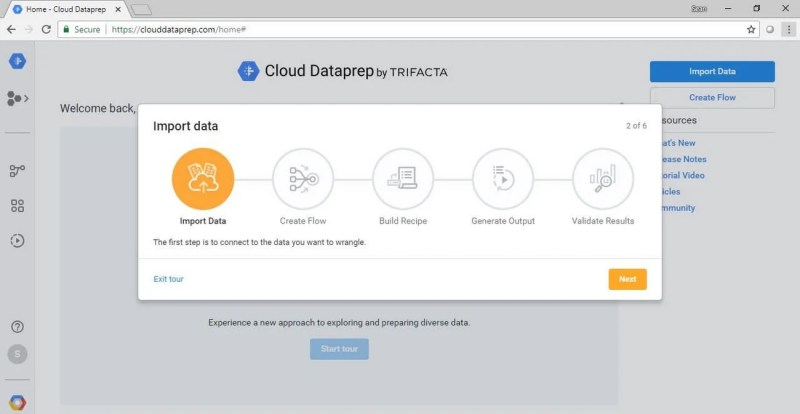 Google Cloud Dataprep New Users Interface