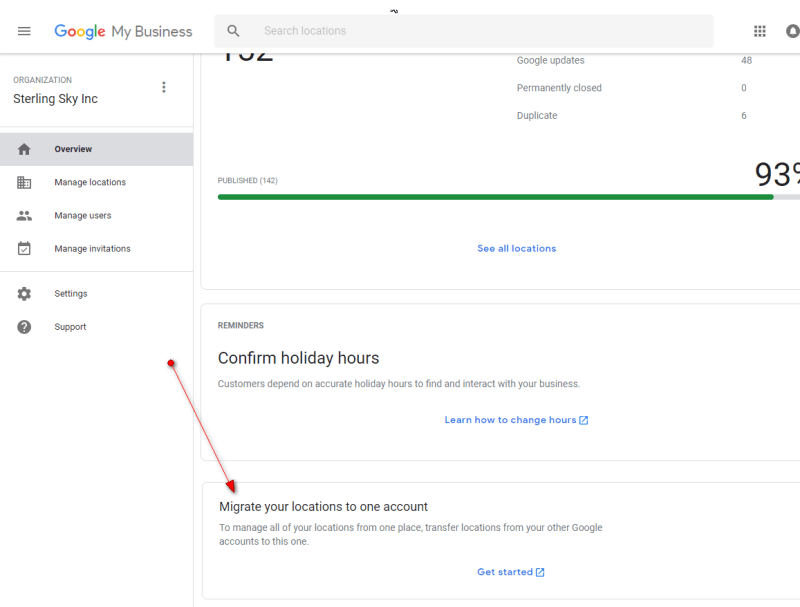 Googe My Business Acency Account Migration Tool On Agency Dashboard