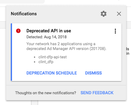 Notification Card in Google Ad Manager UI