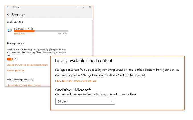 OneDrive Files On-Demand and Storage Sense Integration