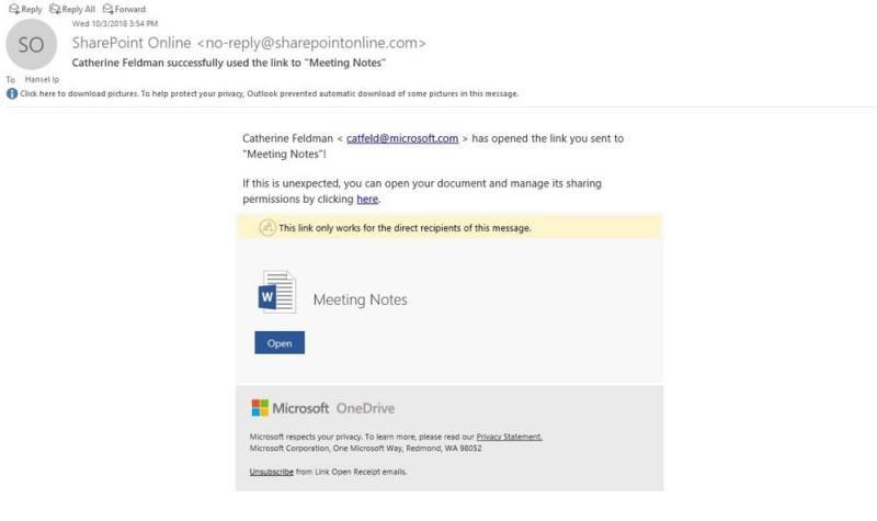 OneDrive Link Open receipt