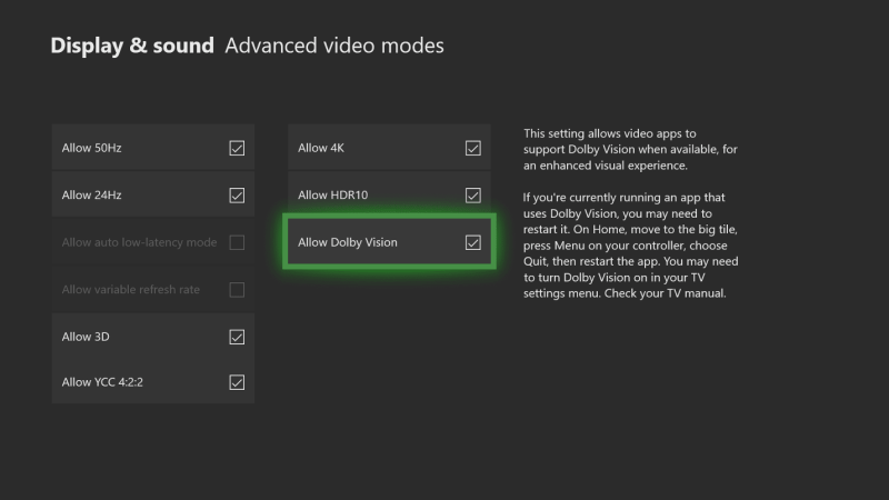 Dolby Vision HDR Video Streaming on Xbox One