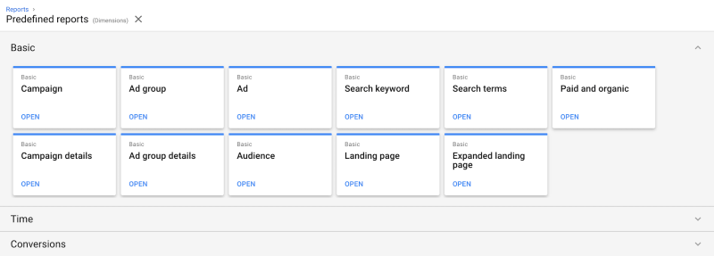 New predefined landing page reports in Google Ads Report Editor