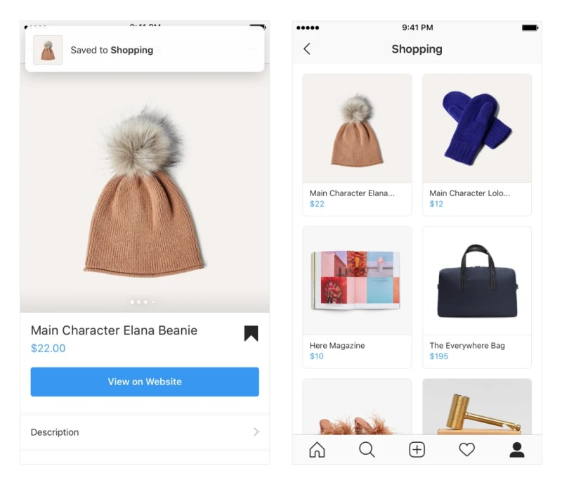 Instagram Save to Shopping Collecton