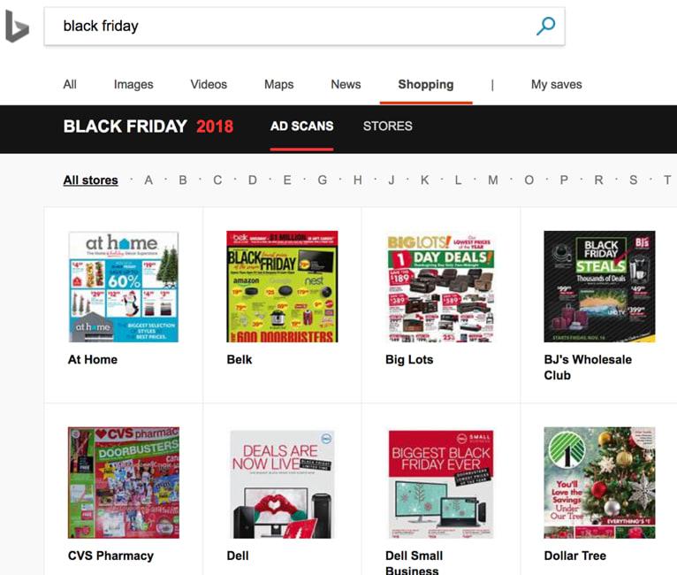 Bing Search Black Friday Flyer Tab