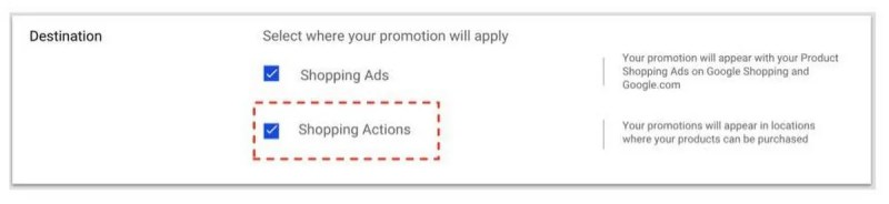 manually add shopping actions in google ads merchant center