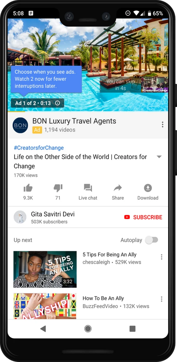 Google Ads Ad Pods Video Ad Format on YouTube Mobile