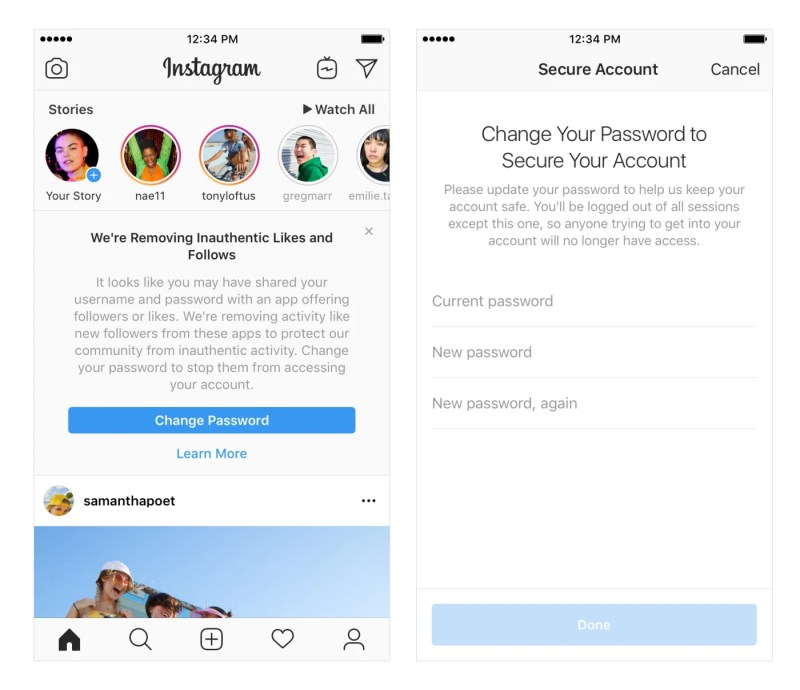 Instagram in-app message to remove Fake Followers, Comments, and Likes Generated by Third-party Apps