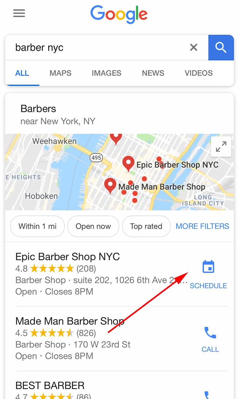 Google Local Listing Schedule Button