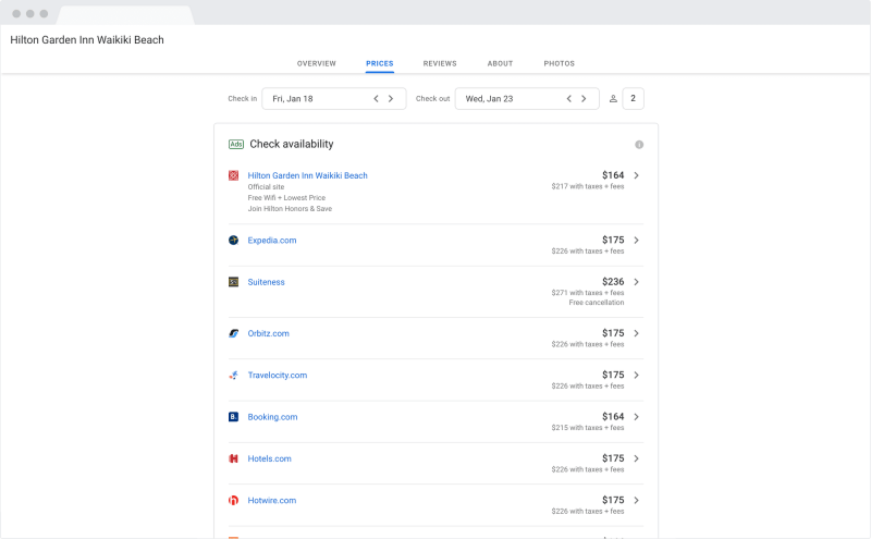 Google Hotel Search Results on desktop compare hotel room 'prices