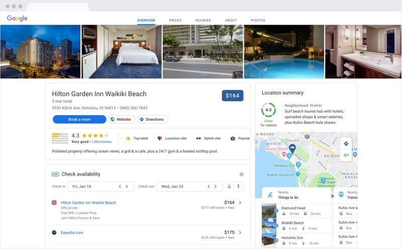 Google Hotel Search Results on desktop: Hotel information and details