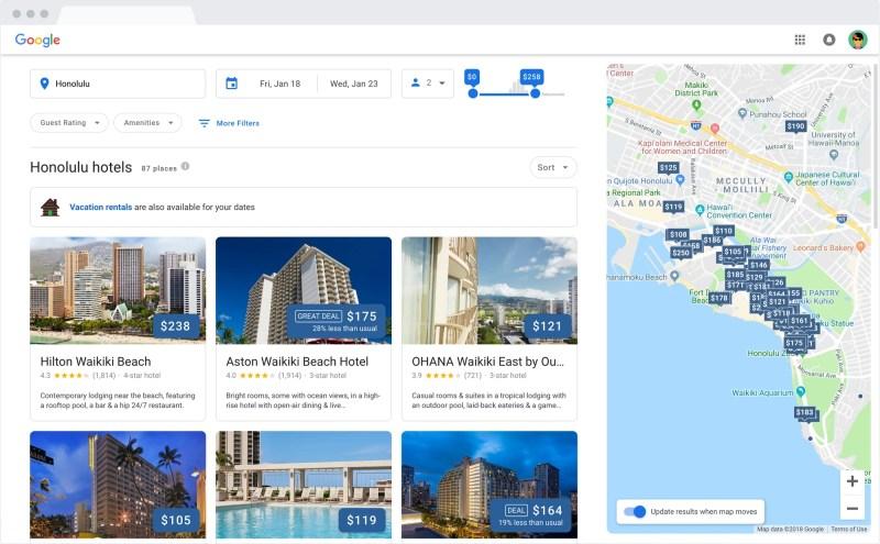 Google Hotel Search Results on desktop