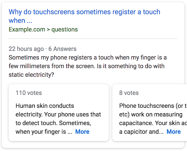 Google Search Result for question and answer