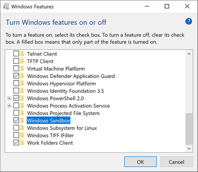 Enabling Windows Sandbox under Winfows Features in Window 10 Pro and Windows 10 Enterprise editions