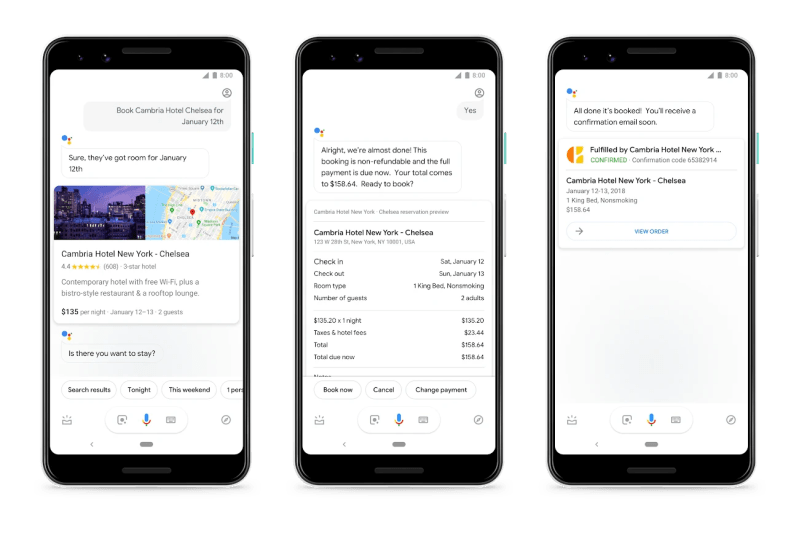 Google Assistant Hotel Room Booking