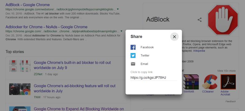 Google Knowledge Graph for Adblocker Share box