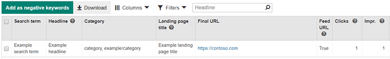 Bing Ads detail view of Dynamic Search Ads search terms report Feed URL example