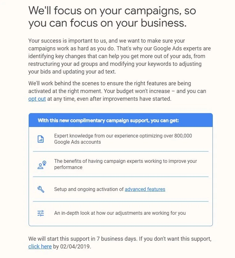 Google Email of Complimentary Campaign Support