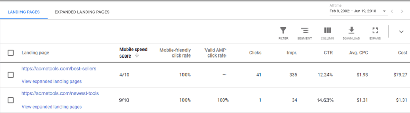 mobile speed score on landing pages in google ads