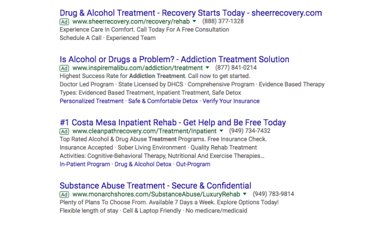 Addiction Recovery Ads on Bing