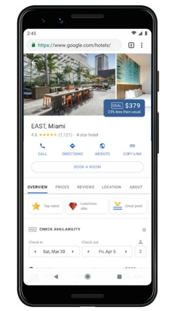 Google Hotels Highlights