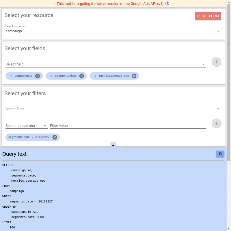 Google Ads Query Builder Tools Web Interface