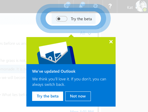 Opt in Outlook.com beta