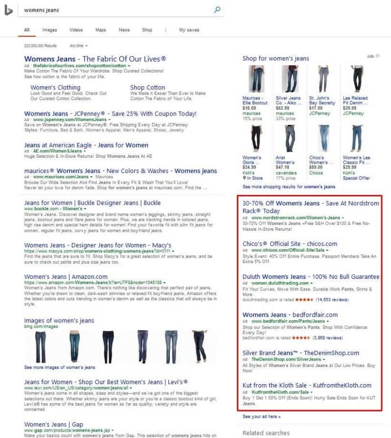 Bing Ads: Sidebar Text Ads on SERP