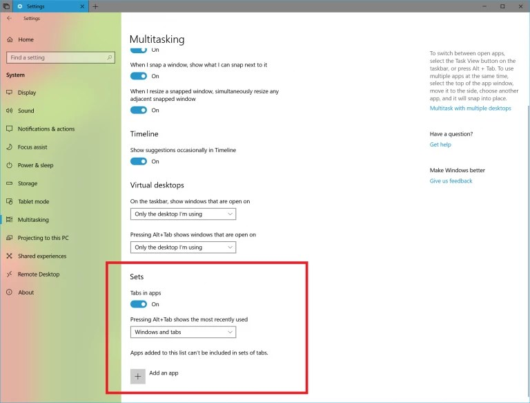 Windows 10 build 17630 New Settings for Sets