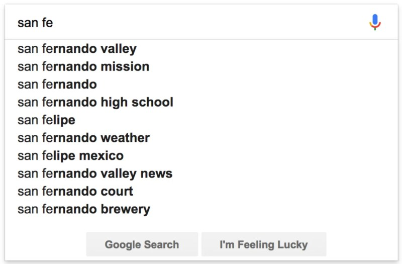 Google Autocomplete Predicitions Example