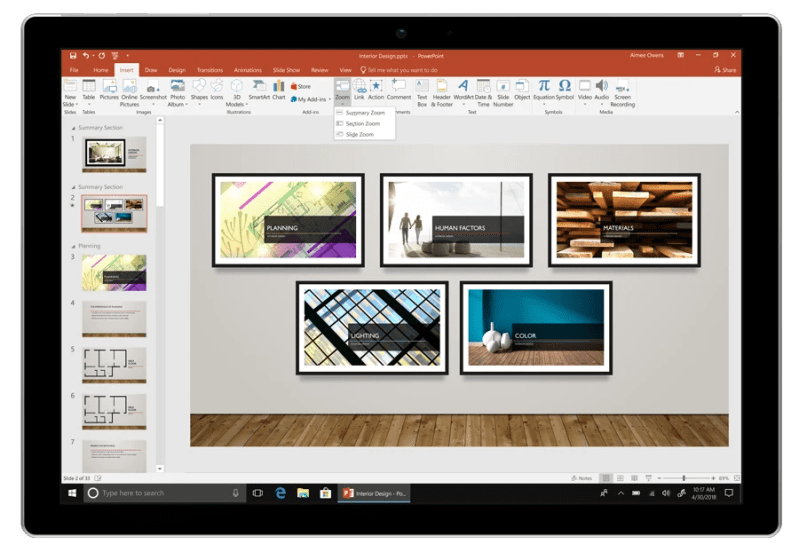 Office 2019 PowerPoint Zoom