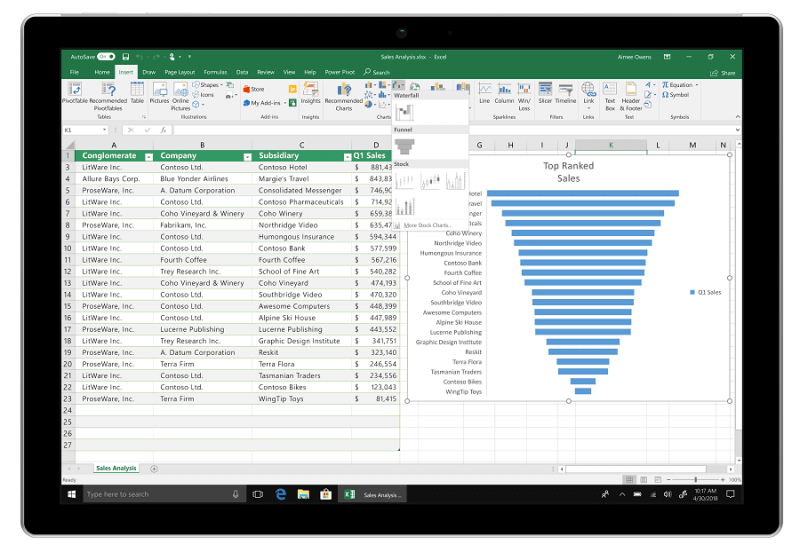 Office 2019 Excel funnel charts and 2D map
