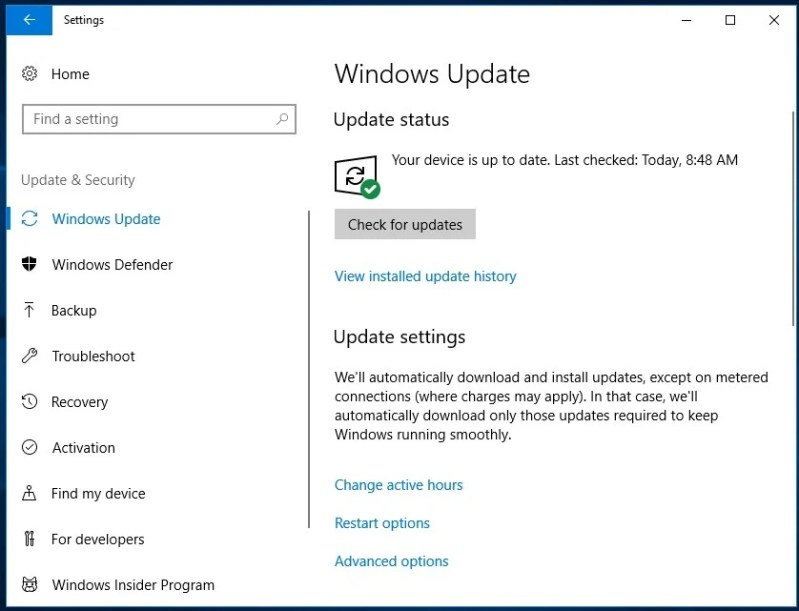 Manually Checking Windows 10 April 2018 Update