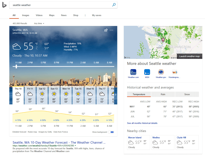 Bing Weather Search Results with Live Radar