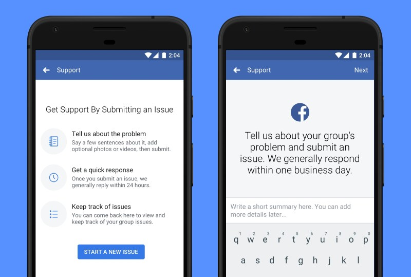 Admin support tool on Facebook