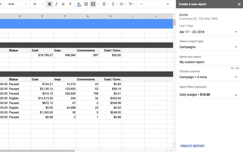 Google AdWords Spreadsheet Add-on Select Report Type