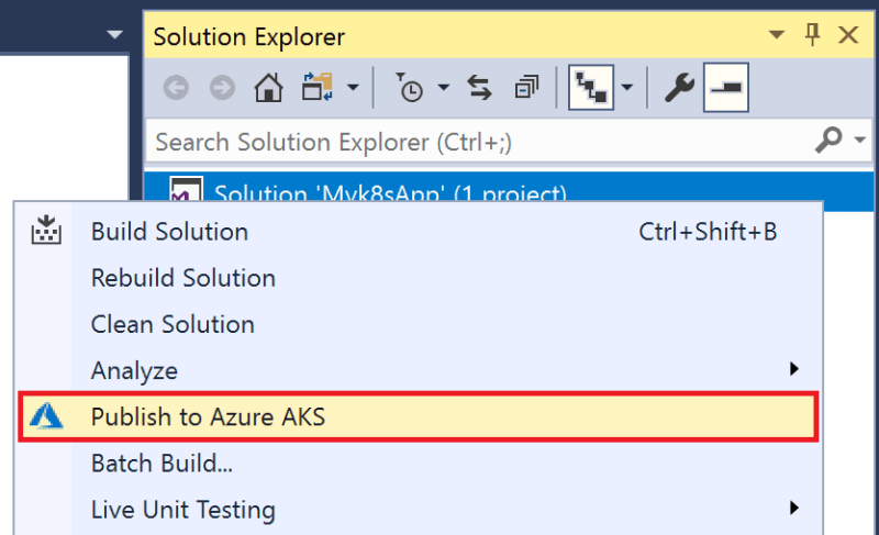 Azure AKS Option in Solution Explorer