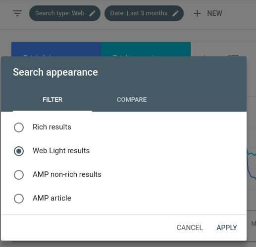 Google Search Console Web Light Filter