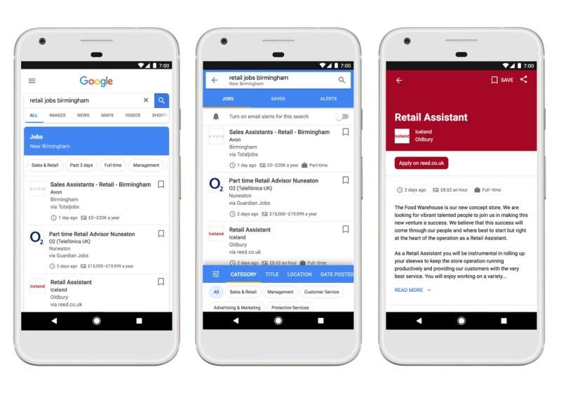 Google Job Search in UNited Kingdom