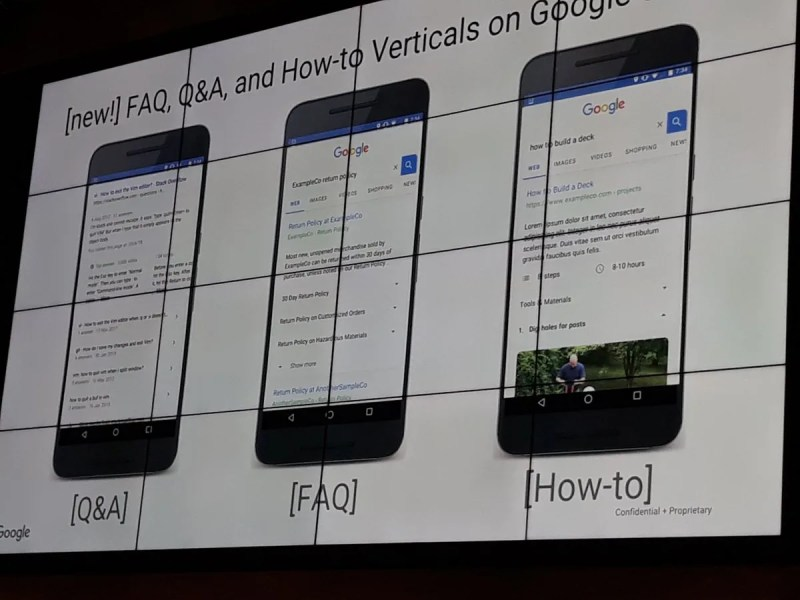 Google Search shows FAQ, Q&A, How-to Verticals