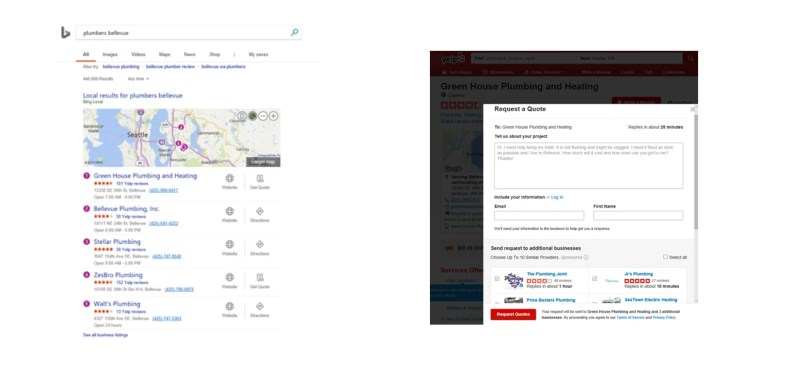 Bing home services pricing quotes and booking on Yelp