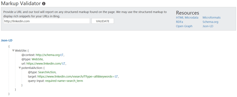 JSON-LD MArkup Validator in Bing Webmaster Tools