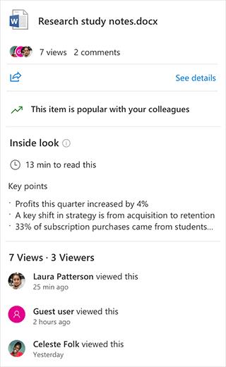 Inside look in Microsoft 365 File Card
