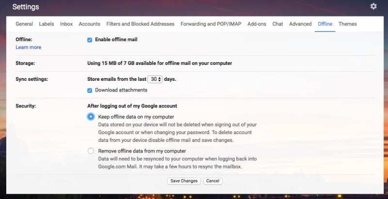 Turn Gmail Offline on in new Gmail