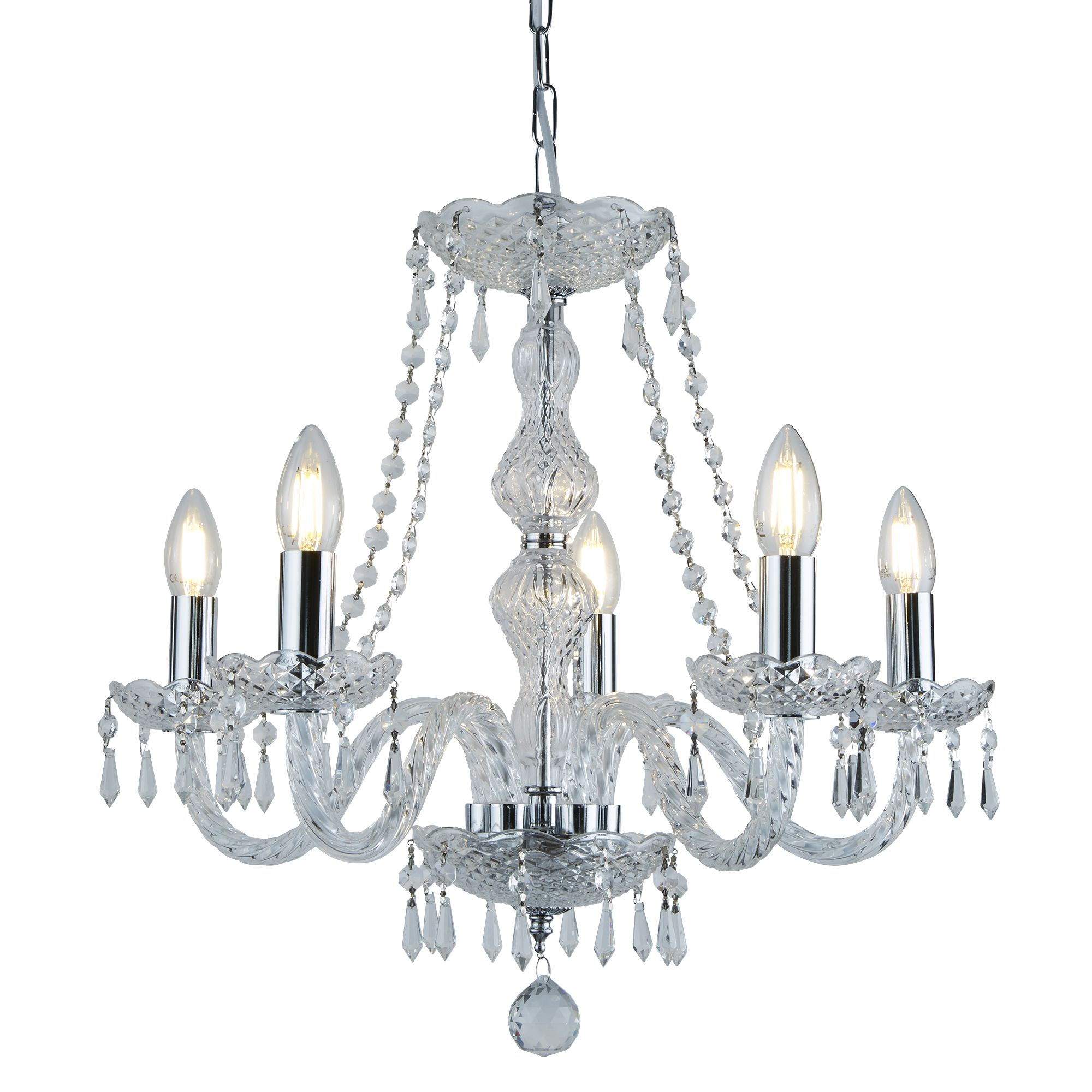 Hale Chrome 5 Light Chandelier With Crystal Trimmings