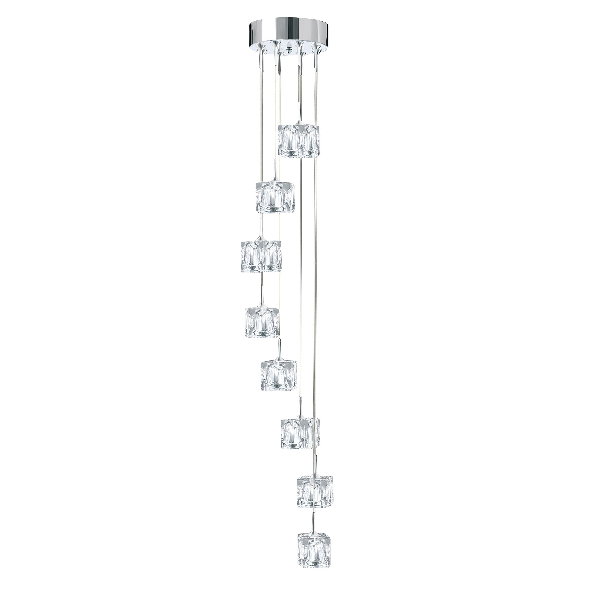 Chrome Led Ice Cube Clear Glass 8 Light Fitting
