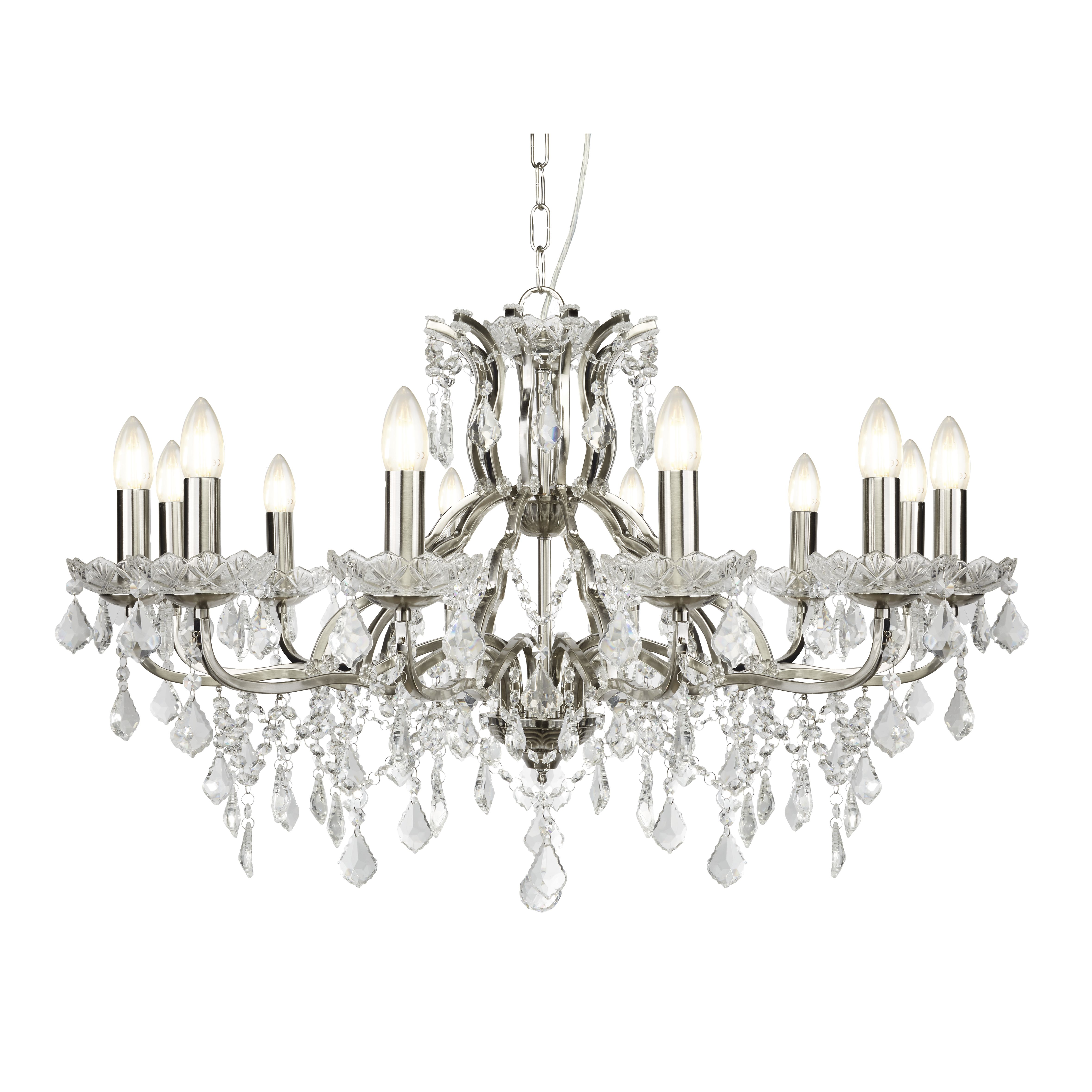12 Light Chandelier Clear Crystal Drops Amp Trim Satin Silver